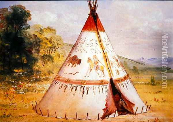 Teepee Of The Crow Tribe C 1850 Oil Painting Reproduction