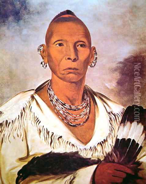 Portrait of Black Hawk, Indian Chief Oil Painting - George Catlin
