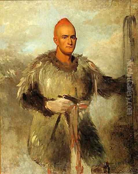 Theodore Burr Catlin, in Indian Costume Oil Painting - George Catlin