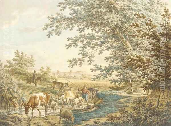 Cattle at a pond in a landscape Oil Painting - Jacob Cats
