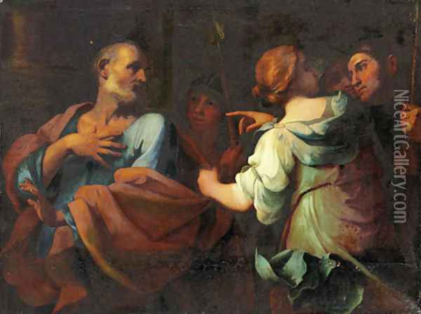 The Denial of Saint Peter Oil Painting - Giovanni Domenico Cerrini