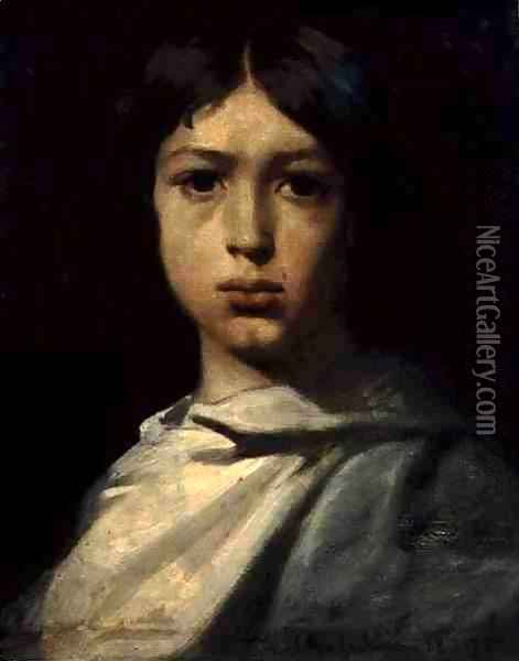 Portrait of a Young Boy, or The Artist's Colour Grinder, 1839 Oil Painting - Theodore Chasseriau