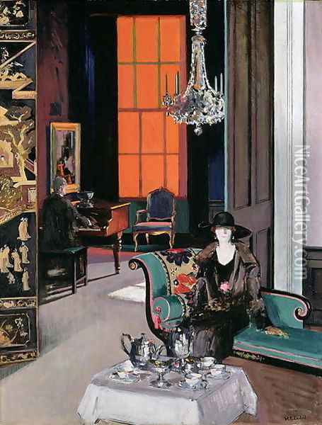 Interior - The Orange Blind, c.1928 Oil Painting - Francis Campbell Boileau Cadell