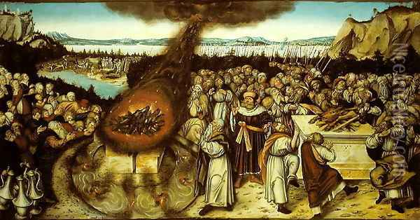 The Rival Sacrifices of Elijah and the Priests of Baal, 1545 2 Oil Painting - Lucas The Younger Cranach
