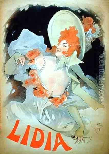 Reproduction of a poster advertising 'Lidia', at the Alcazar d'Ete, 1895 Oil Painting - Jules Cheret
