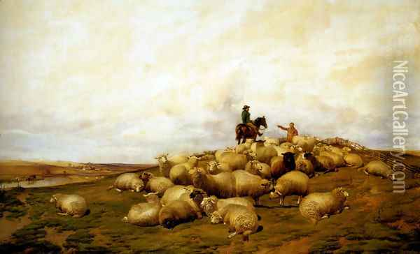 A Shepherd With His Flock Oil Painting - Thomas Sidney Cooper