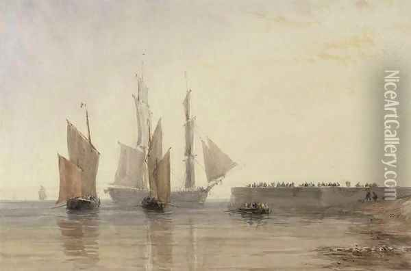 Entrance to Calais Harbour, 1829 Oil Painting - David Cox
