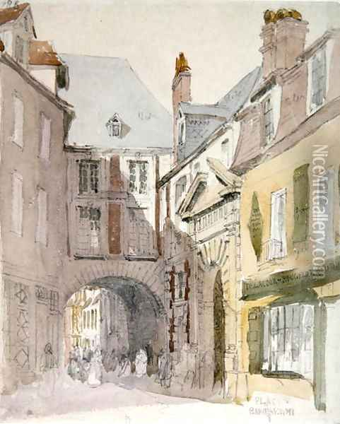 Place Barthelme, Paris, c.1829 Oil Painting - David Cox