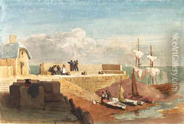 Figures by a harbour wall with boats moored in the foreground Oil Painting - David Cox