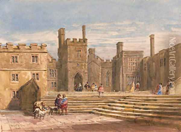 Figures in historical costume before Haddon Hall, Derbyshire Oil Painting - David Cox