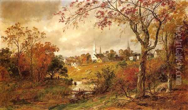 Autumn Landscape - Saugerties, New York Oil Painting - Jasper Francis Cropsey
