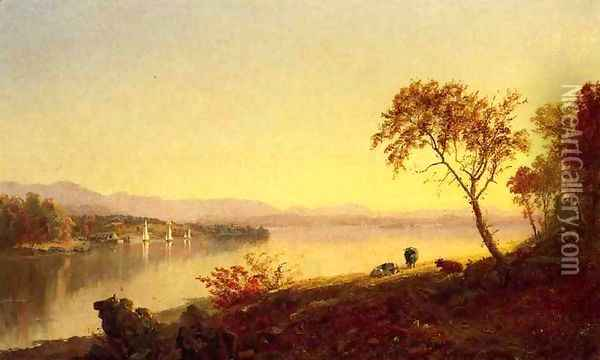Along the River Oil Painting - Jasper Francis Cropsey