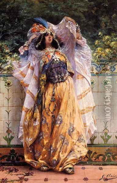 An Ouled-Nail Tribal Dancer Oil Painting - Georges Jules Victor Clairin