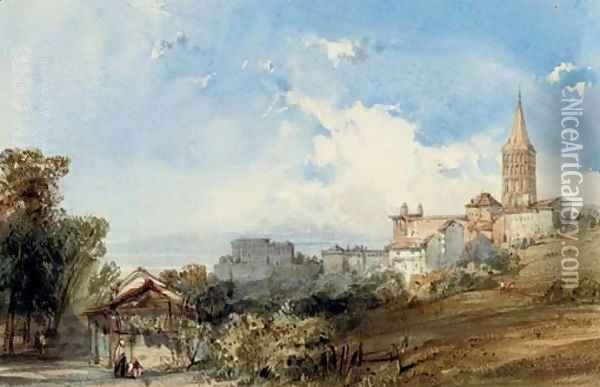 Angouleme Cathedral from the south-east, France Oil Painting - William Callow