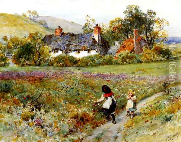 Children Playing On A Path, Cottages Beyond Oil Painting - William Stephen Coleman