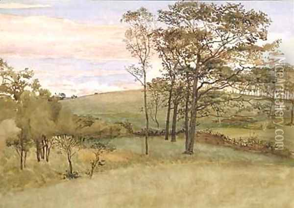 Late Summer Landscape Oil Painting - Walter Crane