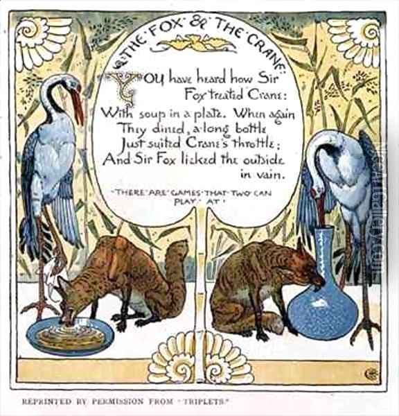 The Fox and The Crane Oil Painting - Walter Crane