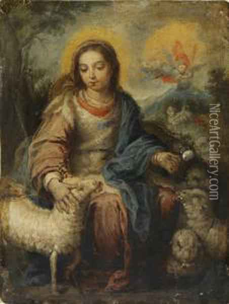 Virgen Pastora Oil Painting - Bernardo German Llorente