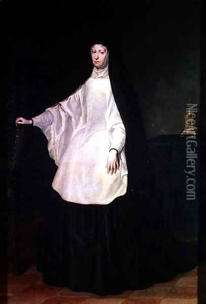Queen Maria-Anna of Bavaria-Neuburg (1667-1740) Queen of Spain, wife of Charles II (1661-1700), in mourning, c.1700 Oil Painting - Juan Carreno De Miranda