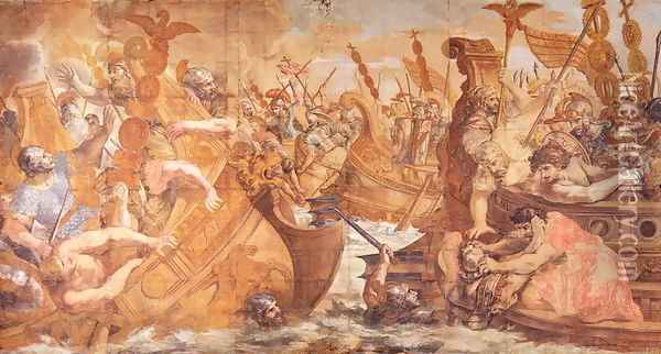 Roman Naval Battle Oil Painting - Pietro Da Cortona (Barrettini)