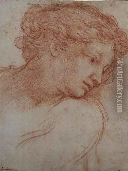 Study of a Head of a Girl Oil Painting - Pietro Da Cortona (Barrettini)