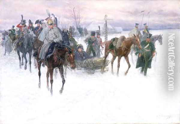 Napoleon's Troops Retreating from Moscow, 1888-89 Oil Painting - Jan van Chelminski
