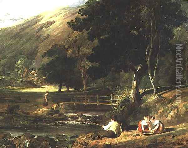 Borrowdale, Cumberland, with Children Playing By A Stream, 1823 Oil Painting - William Collins