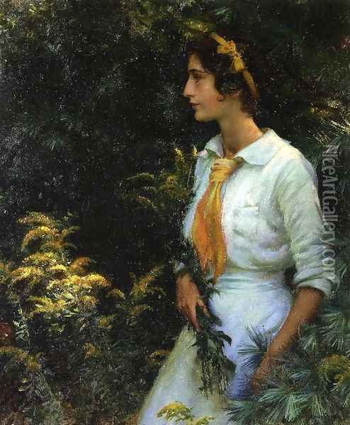 Goldenrod Oil Painting - Charles Curran