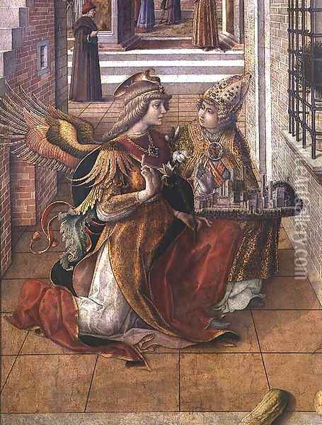The Annunciation with St. Emidius, detail of the archangel Gabriel with the saint, 1486 Oil Painting - Carlo Crivelli