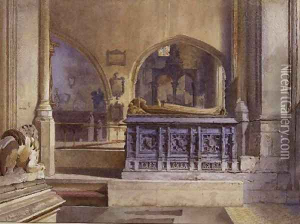 Lord and Lady Crosby's Monument, St. Helen's Church, Bishopsgate, 1883 Oil Painting - John Crowther