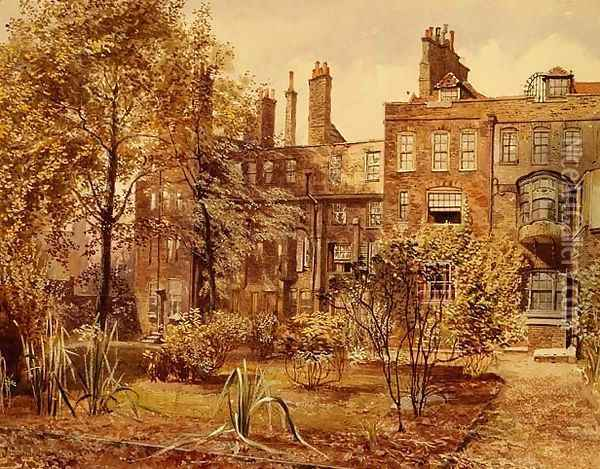 Lincoln's Inn: Old Kitchen Garden Oil Painting - John Crowther