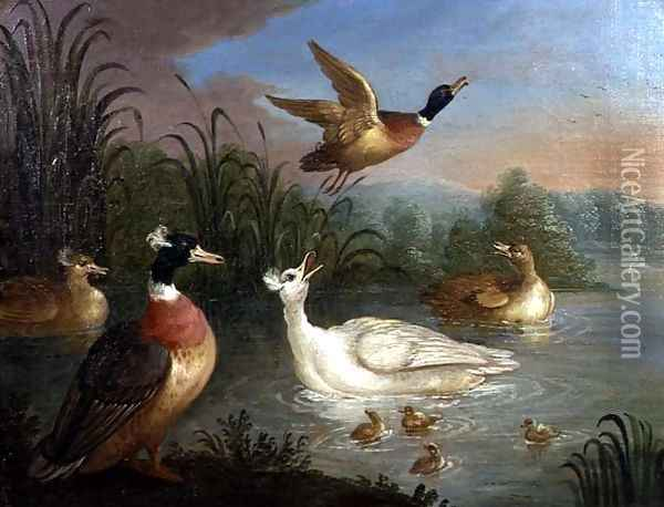 Ducks on a River Landscape Oil Painting - Marmaduke Craddock