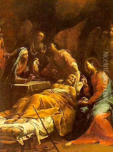 The Death of St. Joseph 1712 Oil Painting - Giuseppe Maria Crespi
