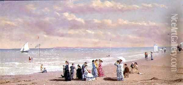 Elegant Figures on a Beach Oil Painting - Conrad Wise Chapman