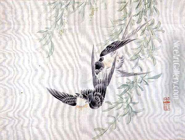Swallows in flight, from an album of twelve studies of flowers, birds and fish Oil Painting - Tsubaki Chinzan