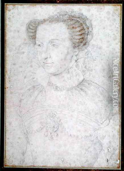 Portrait of Anne d'Este (1531-1607) Princess of Ferrera, after 1566 Oil Painting - (studio of) Clouet