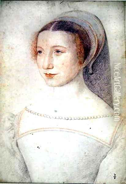 Unknown portrait of a young Lady, c.1540 Oil Painting - (studio of) Clouet