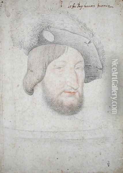 Portrait of Francois I (1494-1547) before 1525 Oil Painting - (studio of) Clouet
