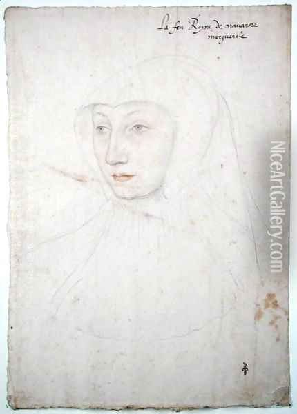 Marguerite de Valois or d'Orleans-Angouleme (1492-1549) c.1525-27 Oil Painting - (studio of) Clouet