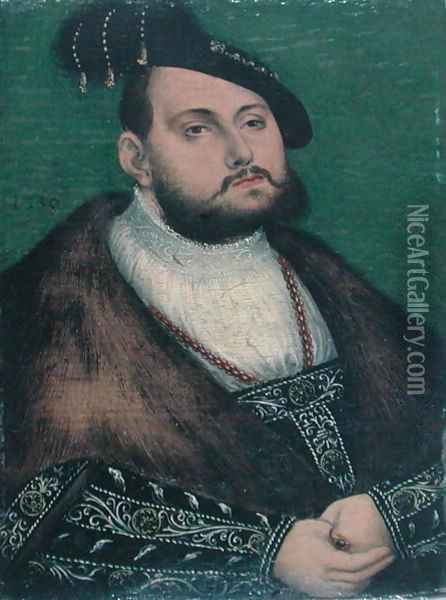 Portrait of John Frederick Elector of Saxony, 1550 Oil Painting - Lucas (studio of) Cranach