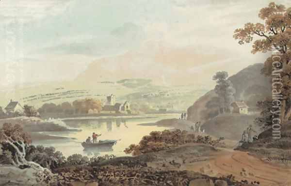 A wooded river landscape with a ferry in the foreground and a village beyond Oil Painting - John Henry Campbell