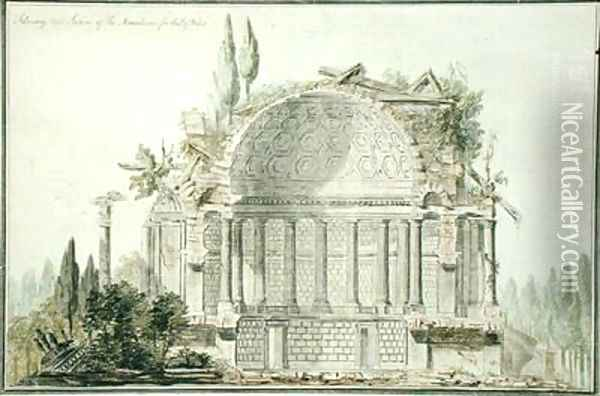 Design for a Ruined Mausoleum for the Prince of Wales Oil Painting - Sir William Chambers