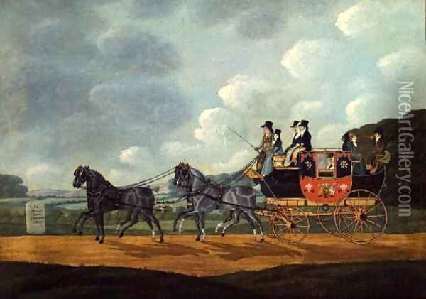 The Royal Mail Coach, London to Birmingham, 1810 Oil Painting - John Cordrey