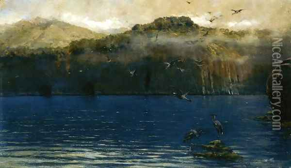 Herons along the Amalfi Coast Oil Painting - Alceste Campriani
