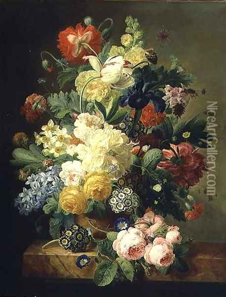 Vase of flowers Oil Painting - Melanie de Comolera