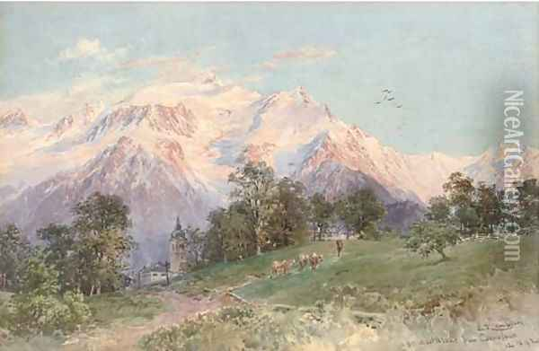 Mont Blanc from Combloux Oil Painting - Edward Theodore Compton