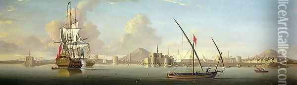 An Extensive View of the Port of Alexandria with a British Man OWar at Anchor Oil Painting - J. Cook