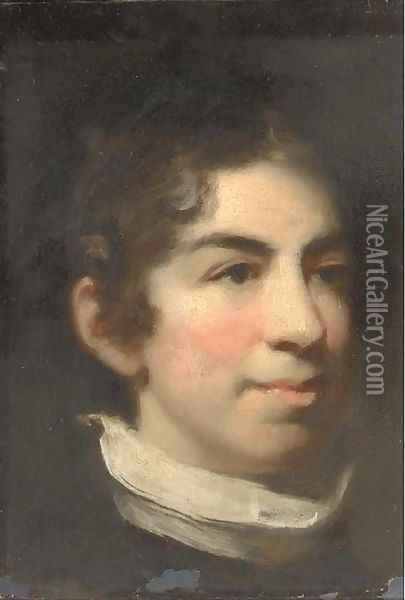 Portrait of a boy, head-and-shoulders, in a raised collar Oil Painting - John Constable