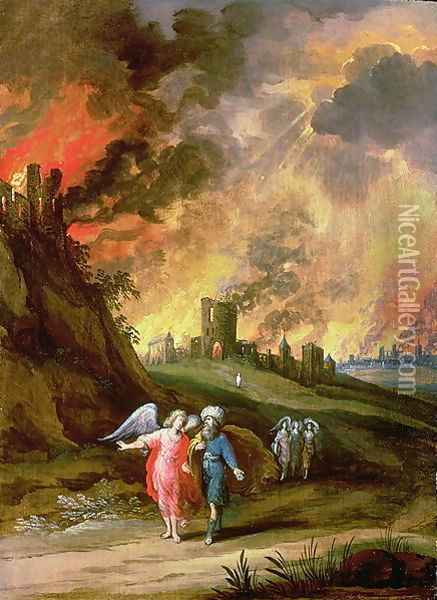 Lot and His Daughters Leaving Sodom Oil Painting - Louis de Caullery