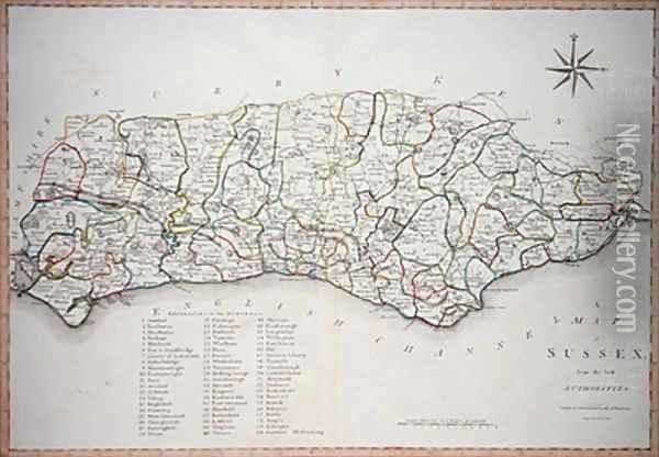 Map of Sussex Oil Painting - Cary, John